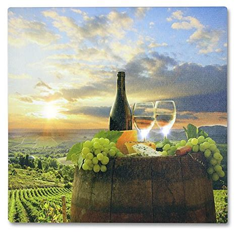 Tuscan Wall Art   LED Canvas Print with a Vineyard Scene