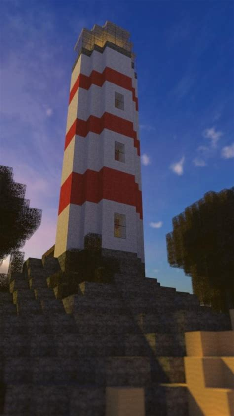 beach trees world lighthouses minecraft skies wallpaper