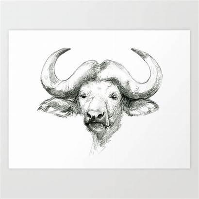 Buffalo Sketch African Prints Sk008 Society6 Artwork