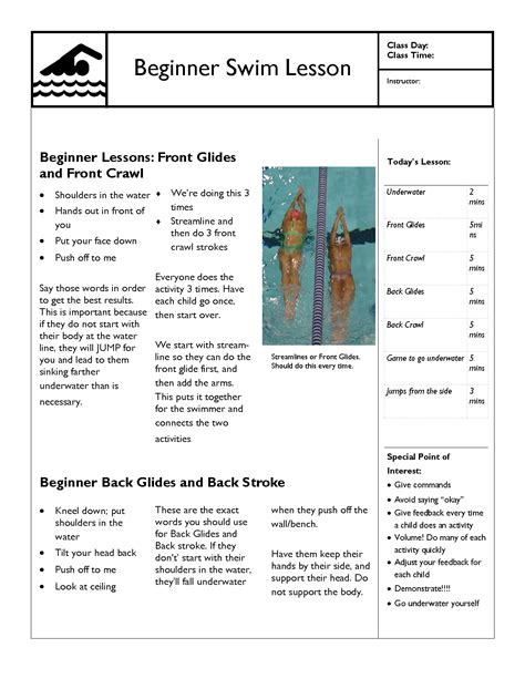 Swimming Lesson Plan Template by Swim Lesson Templates And Plans Learn How And When To Use