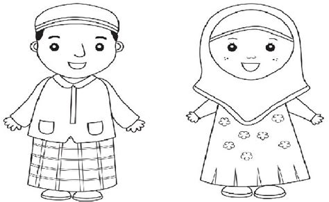 mewarnai gambar anak laki dan perempuan muslim