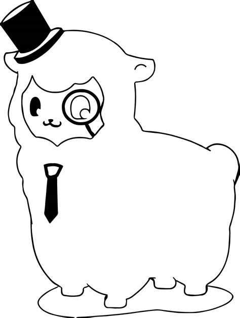 knowledgeable alpaca coloring page wecoloringpagecom