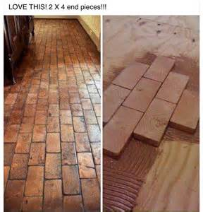 2x4 faux brick floor with wood blocks wooden blocks for brick flooring awesome diy idea