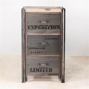 Rangement Tiroir Bois : meuble de rangement en bois recycl 3 tiroirs m tal ~ Edinachiropracticcenter.com Idées de Décoration