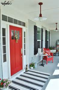 Red Front Door with Porch