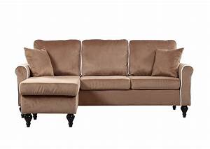 Traditional small space champagne velvet sectional sofa for Small sectional sofas with chaise lounge