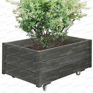 Jardiniere Sur Roulette : bac fleurs en bois noir 93x54cm mobilier de jardin ~ Farleysfitness.com Idées de Décoration