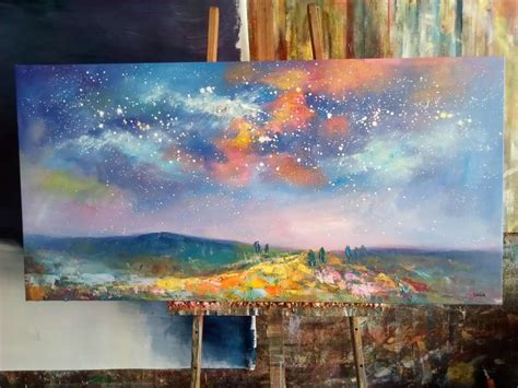 starry night sky painting oil painting  canvas canvas