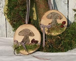 Basteln Mit Baumscheiben : fensterdeko herbstdeko birkenpilz auf holzscheibe von deko tu shop auf creative ~ Watch28wear.com Haus und Dekorationen