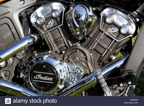 Indian Motorcycle Engine Stock Photo