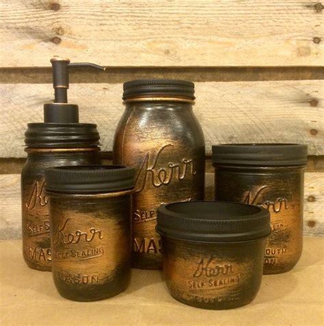 vintage mason jar bathroom set black copper bathroom set