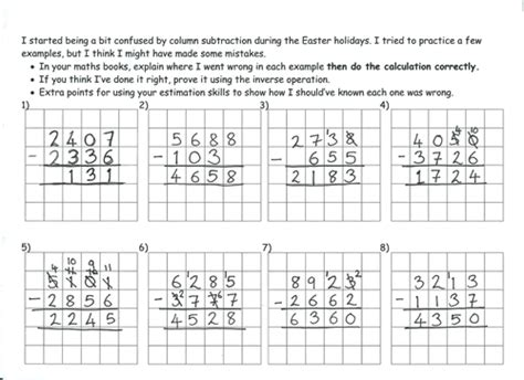 deliberate column subtraction mistakes by marrog teaching resources tes