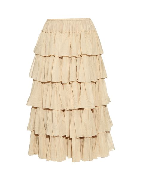 midi tiered skirt mes demoiselles tiered ruffled cotton skirt in lyst
