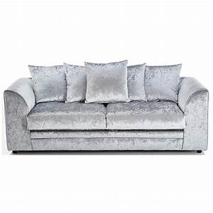 Michigan crushed velvet 3 seater sofa silver 3 seater for Silver velvet sectional sofa