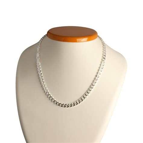 solid sterling silver mens curb chain mm width
