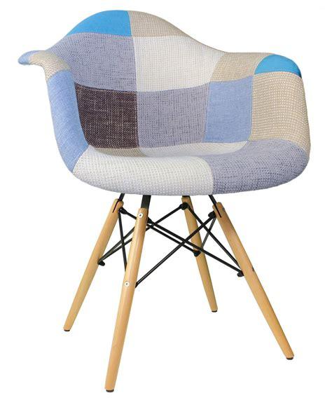 Designer Patchwork Fabric Upholstered Midcentury Eames