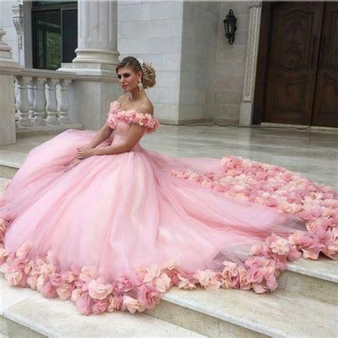 12760 Low Shoulder Flower Dress pink tulle flower gowns wedding dress the