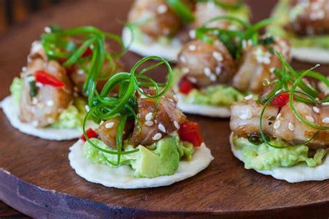 shrimp canape recipe wasabi shrimp with avocado on rice cracker steamy