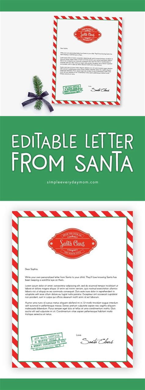unique letter  santa template ideas  pinterest