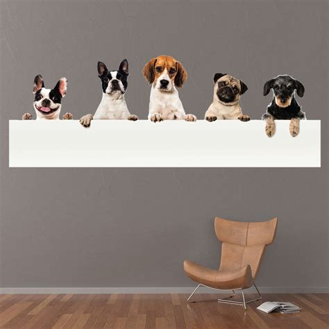 peeping dogs pug bulldog wall sticker