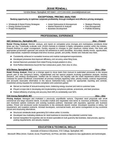 pricing analyst resume exle sle of professional