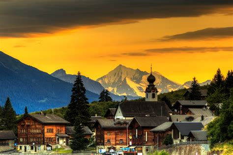 Switzerland Sunset Hd Wallpaper Background Image