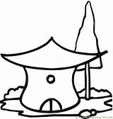 Hut Coloring Straw Houses Template Coloringpages101 sketch template