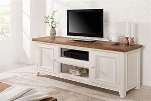 Tv Möbel Vintage : hochwertiges tv lowboard byron pinienholz wei vintage braun riess ~ Watch28wear.com Haus und Dekorationen