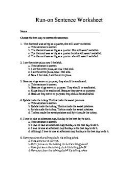 run on sentence worksheets quiz and answer by