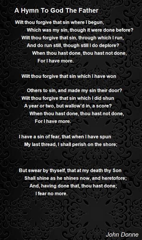 hymn  god  father poem  john donne poem hunter