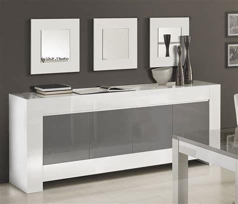 chaise haute industriel meuble buffet bahut blanc et gris 3 ou 4 portes frizz 2