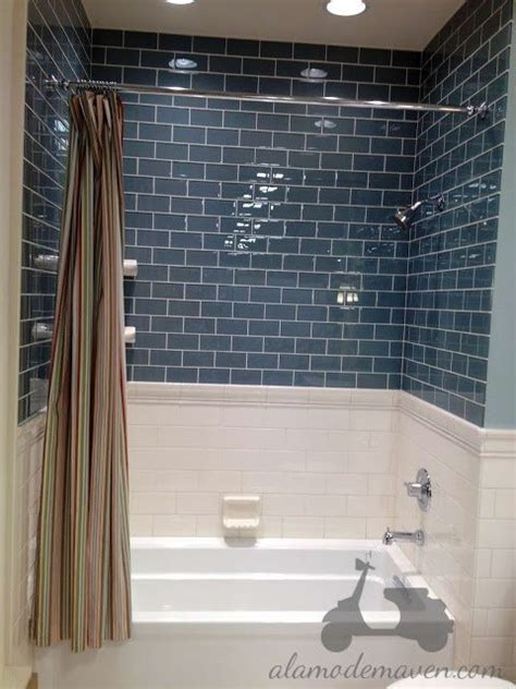tiles navy blue subway tile and the hydrorail shower navy subway tile irene and jason s bathroom ideas