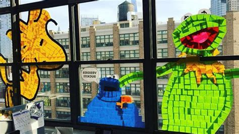 application post it bureau epic post it war plasters nyc office windows with