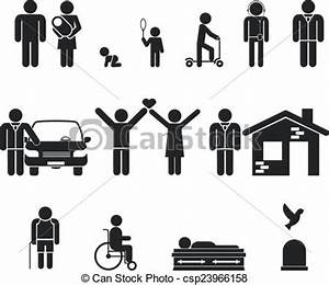 Clipart Vector of Life stage. Birth and adolescence, youth ...