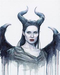 Maleficent Watercolor Portrait Painting by Olga Shvartsur
