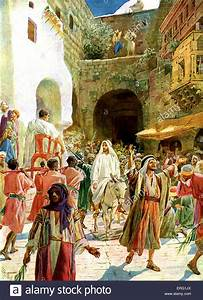 Jesus enters Jerusalem on a white donkey and is praised by ...