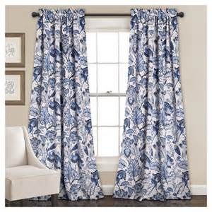 cynthia jacobean room darkening window curtain set blue