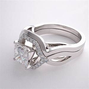 geometric engagement ring setting and matching wedding With geometric wedding ring