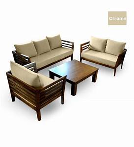 Wooden sofa set 321 seater coffee table by furny for Wooden sofa set