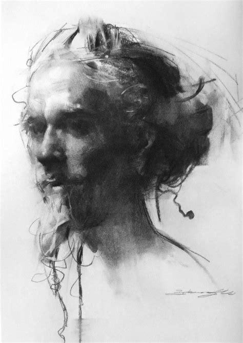 zhaoming wu head   bearded man charcoal art