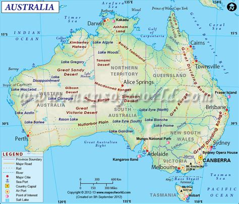 enlarged map  australia showing  airports roads