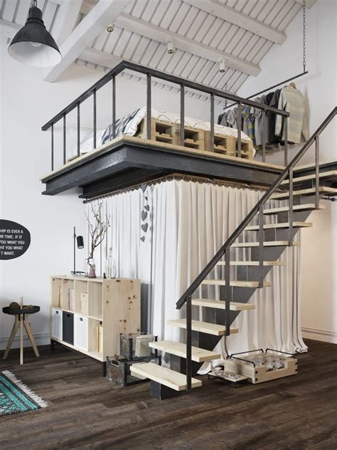 Chic Scandinavian Studio With Lofted Bed by Chic Scandinavian Studio With Lofted Bed