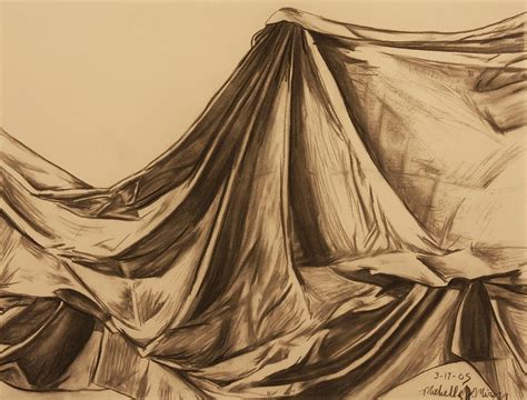 Draped Fabric Drawing By Michelle Miron-rebbe
