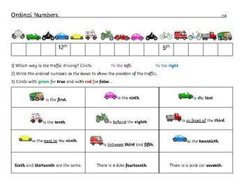 ordinal numbers worksheet differentiated kindergarten to
