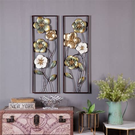 Wall art is available in various shapes and sizes, making it easy to find a piece to fit your decor. Luxen Home 2-Piece Metal Flowers Wall Decor - Walmart.com - Walmart.com