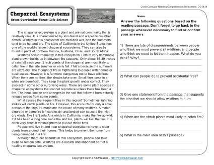 chaparral ecosystems 4th grade reading comprehension
