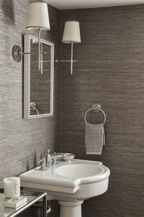 Bathroom Wallpaper Designs by Charcoal Grasscloth Wallpaper Chrome Sconces Bathrooms