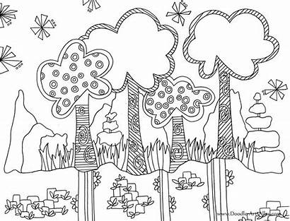 Coloring Doodle Pages Nature Printable Alley Sheets