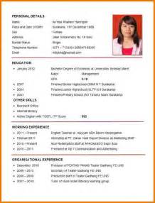 Exle Of A Curriculum Vitae Format by Curriculum Vitae Exle Academic Curriculum Vitae