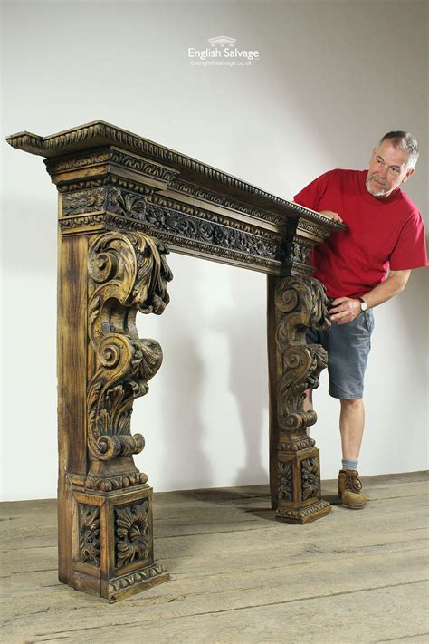 original reclaimed carved wood fire surround